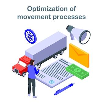 Ottimizzazione dell'insegna di concetto di processo di movimento