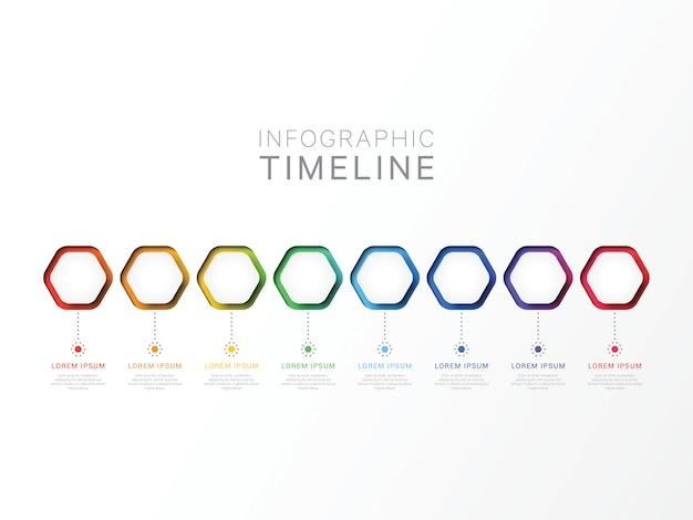 Otto passaggi modello infografica 3d con elementi esagonali