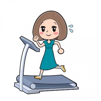 Out line bob hair dress women_running machine