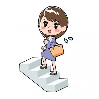 Out line business woman per salire le scale