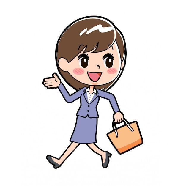 Out line donna d'affari a piedi a
