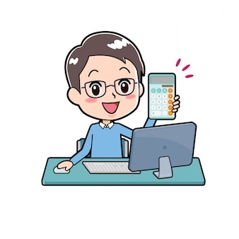 Out line papà con calcolatrice e computer