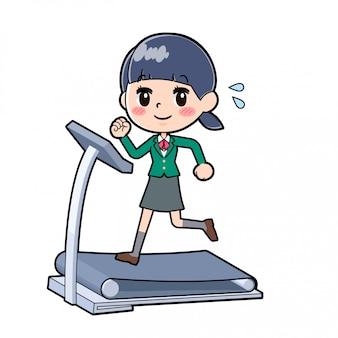 Out line school girl green_running-machine