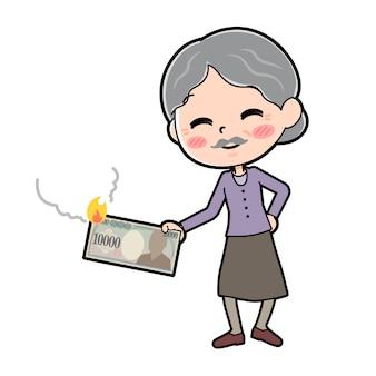 Out line viola indossa nonna