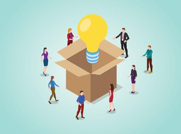Out of the box concetto di pensiero per la soluzione dei problemi con la lampadina con la gente del team