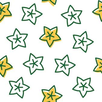 Outline star fruit, reticolo senza giunte di frutta tropicale.