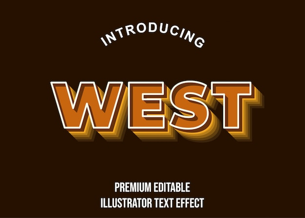 Ovest - stile di carattere effetto testo 3d marrone