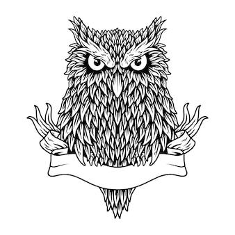 Owl concept bianco e nero