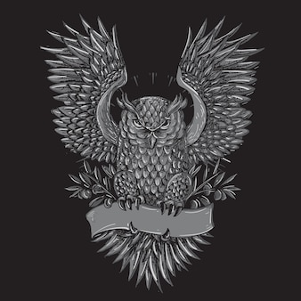 Owl tattoo gray illustration