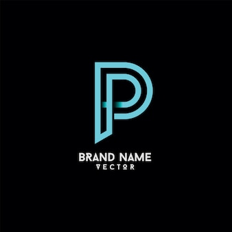 P letter typography logo design vector