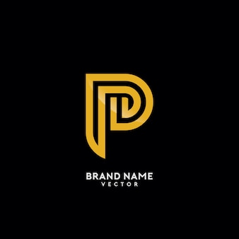 P lettera gold monogram logo design
