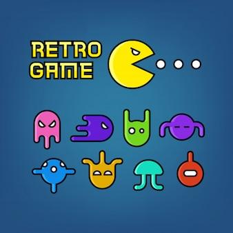 Pac uomo e fantasmi per videogioco arcade insieme vettoriale