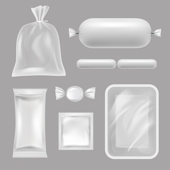Pacchetti alimentari vuoti. immagini realistiche di pacchetti di polietilene