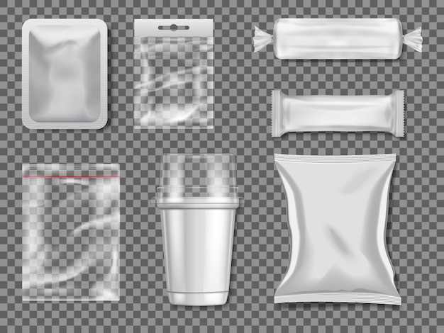 Pacchetti di plastica e trasparenza vuoti. illustrazione del pacchetto di plastica trasparente e trasparente