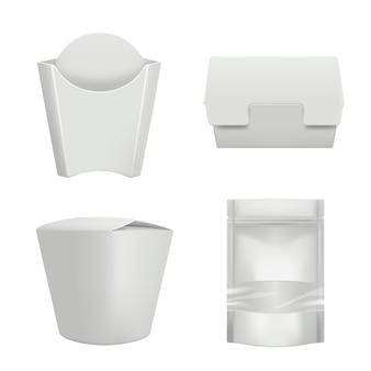 Pacchetti per alimenti. contenitori in plastica per la consegna di una tazza di caffè, hamburger o scatola di cartone