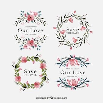 Pacchetto acquerello di etichette floreali di nozze