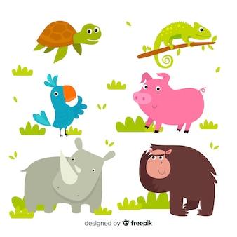Pacchetto animali simpatico cartone animato