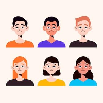 Pacchetto avatar disegnati a mano persone