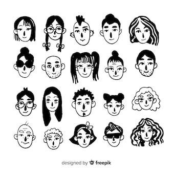 Pacchetto avatar incolore disegnato a mano