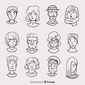 Pacchetto avatar persone disegnate a mano