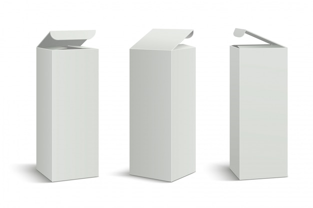 Pacchetto bianco alto. mockup di scatole 3d, confezione di cartone rettangolare di medicina estetica.