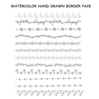 Pacchetto bordo disegnato a mano da acquerello