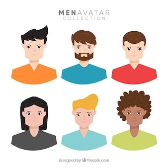 Pacchetto colorato di avatar di giovani uomini
