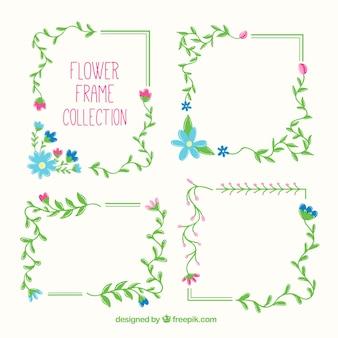 Pacchetto colorato di cornici floreali carine