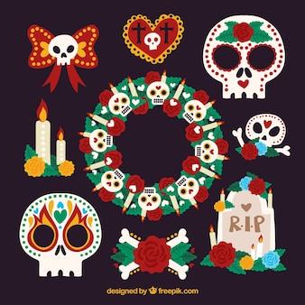 Pacchetto colorato di divertenti elementi messicani
