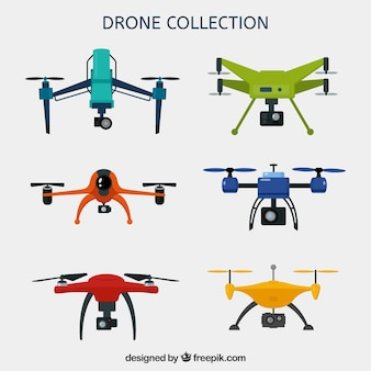 Pacchetto colorato di drones moderni