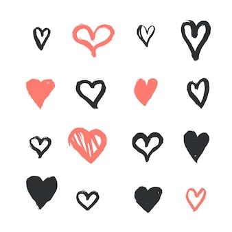 Pacchetto cuore stile disegnato a mano