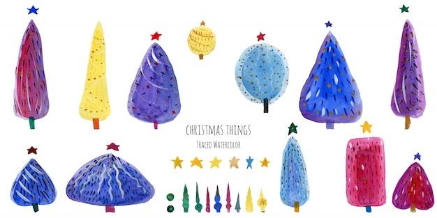 Pacchetto dell'acquerello degli alberi di nuovo anno