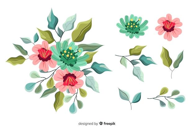 Pacchetto dell'illustrazione del mazzo floreale 2d