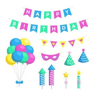 Pacchetto dell'illustrazione della decorazione di compleanno