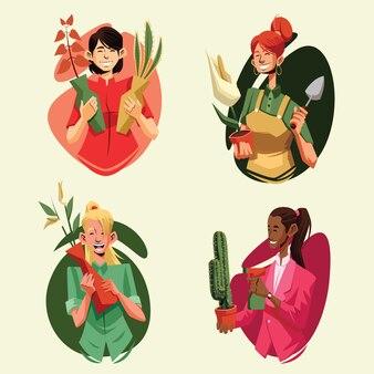 Pacchetto dell'illustrazione di giardinaggio delle donne per rilassamento