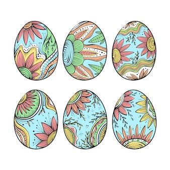 Pacchetto dell'uovo di giorno di pasqua disegnato a mano