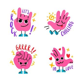 Pacchetto di adesivi divertenti disegnati a mano