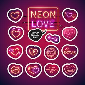 Pacchetto di adesivi per san valentino al neon
