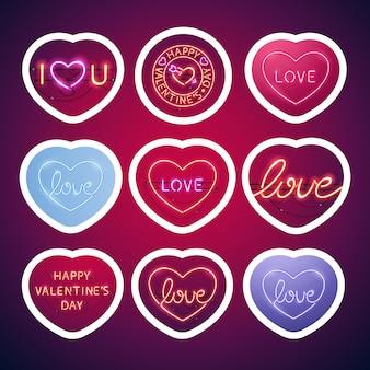 Pacchetto di adesivi segni di san valentino al neon incandescente con tratto