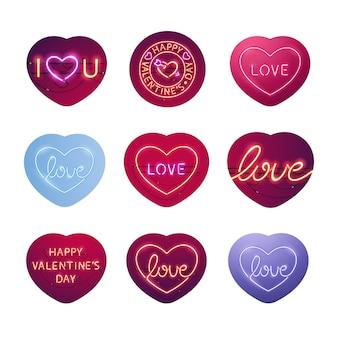 Pacchetto di adesivi segni di san valentino al neon incandescente