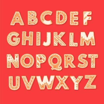 Pacchetto di alfabeto di natale di pan di zenzero