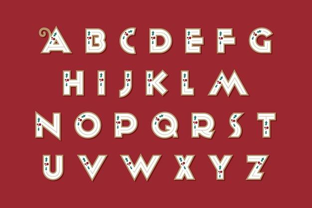 Pacchetto di alfabeto di natale vintage