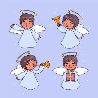 Pacchetto di angelo di natale disegnato a mano