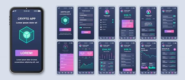 Pacchetto di app mobili per criptovaluta di ui, ux, schermate della gui per l'applicazione