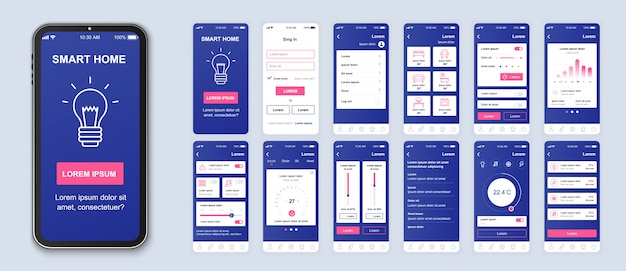 Pacchetto di app mobili per la casa intelligente di ui, ux, schermate della gui per l'applicazione