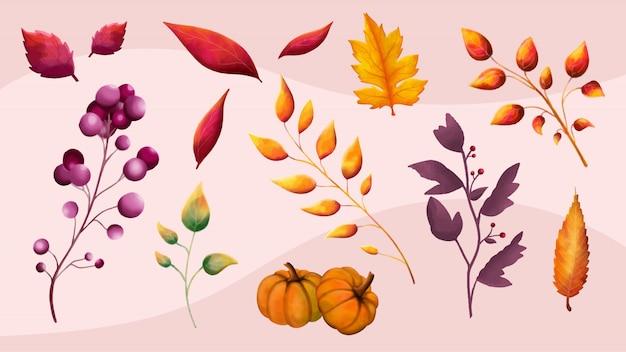Pacchetto di autunno del fogliame dei rami dell'acquerello