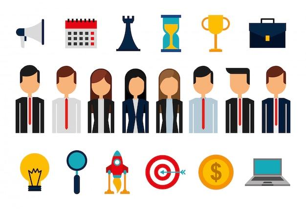 Pacchetto di avatar e forniture di uomini d'affari
