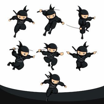 Pacchetto di azione di salto del ninja del fumetto nero