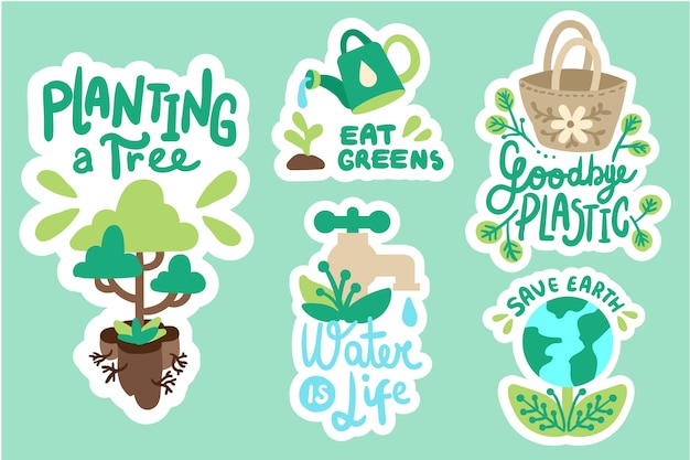Pacchetto di badge di ecologia disegnata a mano