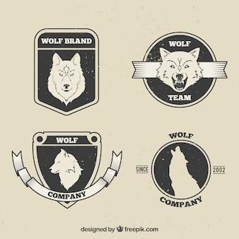 Pacchetto di badge di lupo vintage